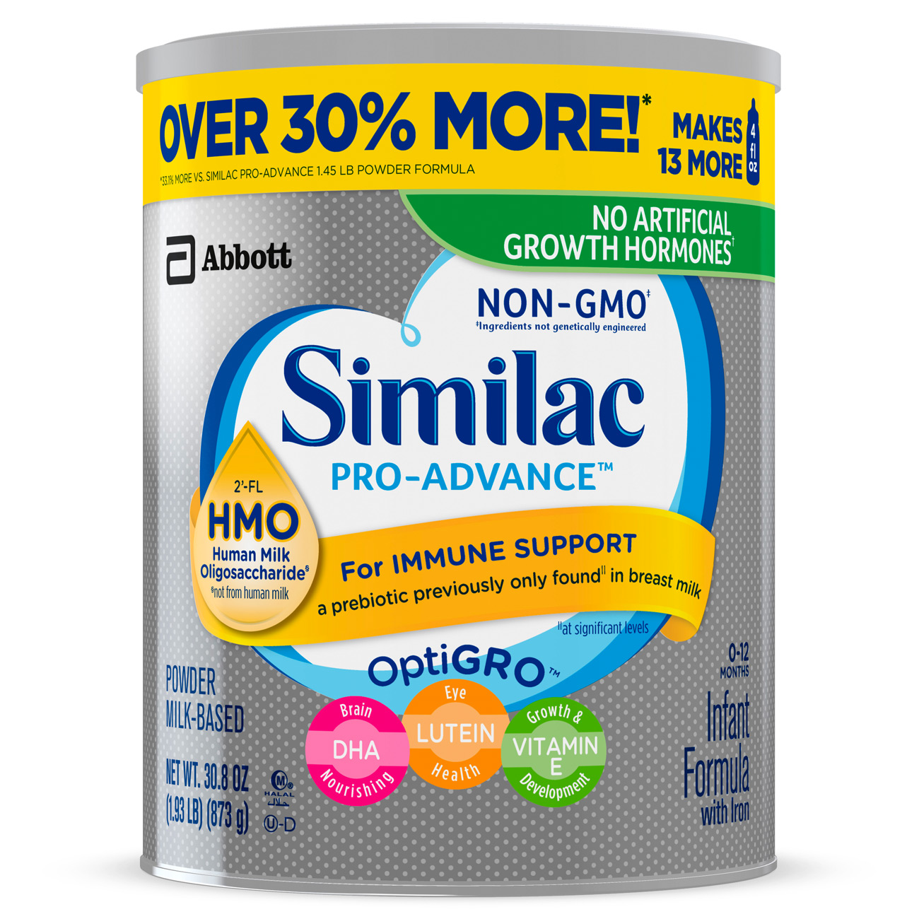 Similac Pro-Advance Infant Formula with Iron, with 2'-FL HMO, For Immune Support, Baby Formula, Powder, 30.8 ounces