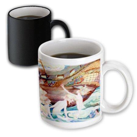 3dRose Mermaids And Wooden Ship, Magic Transforming Mug, 11oz ()