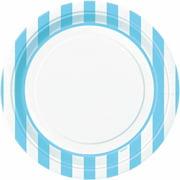 "9"" Striped Paper Dinner Plates, Light Blue, 8ct"
