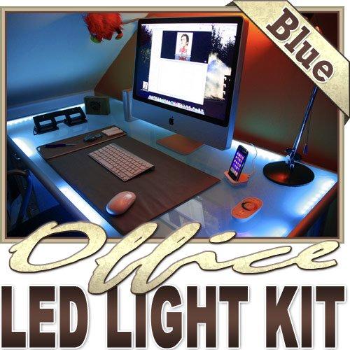 Biltek 2' ft Blue Desk Hutch Drawers Laptop LED Strip Lighting