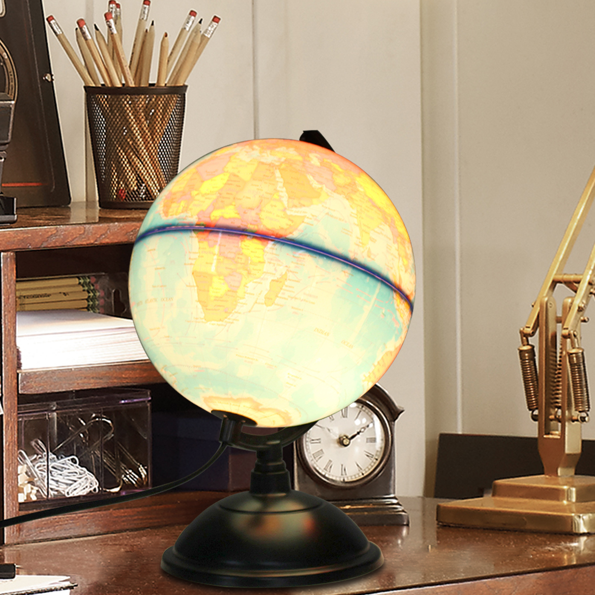 20cm/7.87'' Educational LED Geography World Globe 110V Earth Atlas Map With Rotating Stand