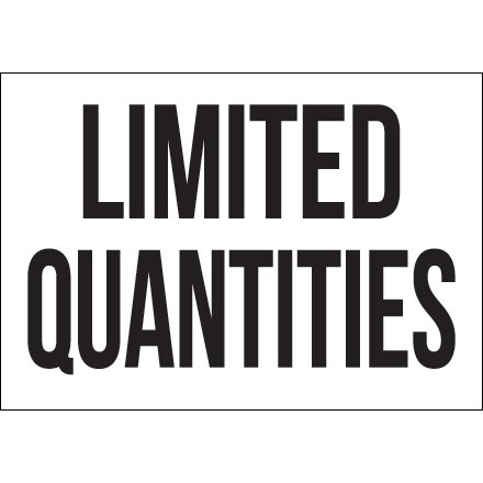 DL1297 Black / White 7 Inch x 10 Inch Limited Quantities Vinyl Labels Made In USA CASE OF