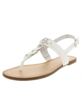 6274996cc2ca Product Image G by Guess Womens Lesha Faux Leather T-Strap Flat Sandals