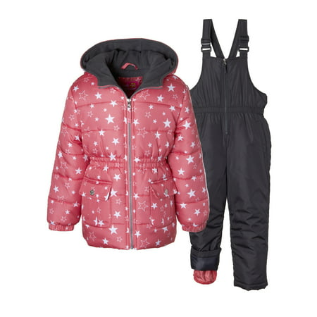 fa2b782c3 Pink Platinum - Metallic Star Print Puffer Jacket Coat & Snowbib, 2-Piece  Snowsuit - Walmart.com