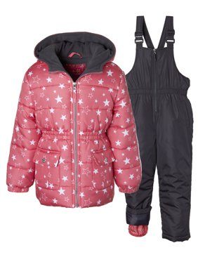 15a32ca83 Product Image Metallic Star Print Puffer Jacket Coat & Snowbib, 2-Piece  Snowsuit