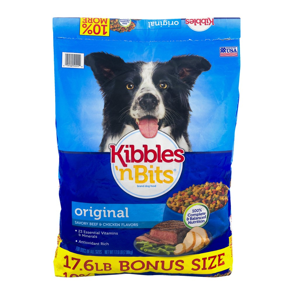 Kibbles 'N Bits Original Savory Beef and Chicken Dry Dog Food, 17.6 Lb