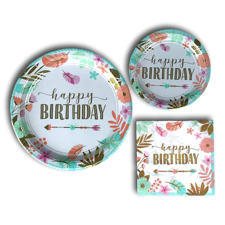 Boho Birthday Girl Disposable Paper Plates And Napkins Party Pack Supplies Bundle Tableware Set Includes Dinner Plates Dessert Plates And Napkins Walmart Com Walmart Com