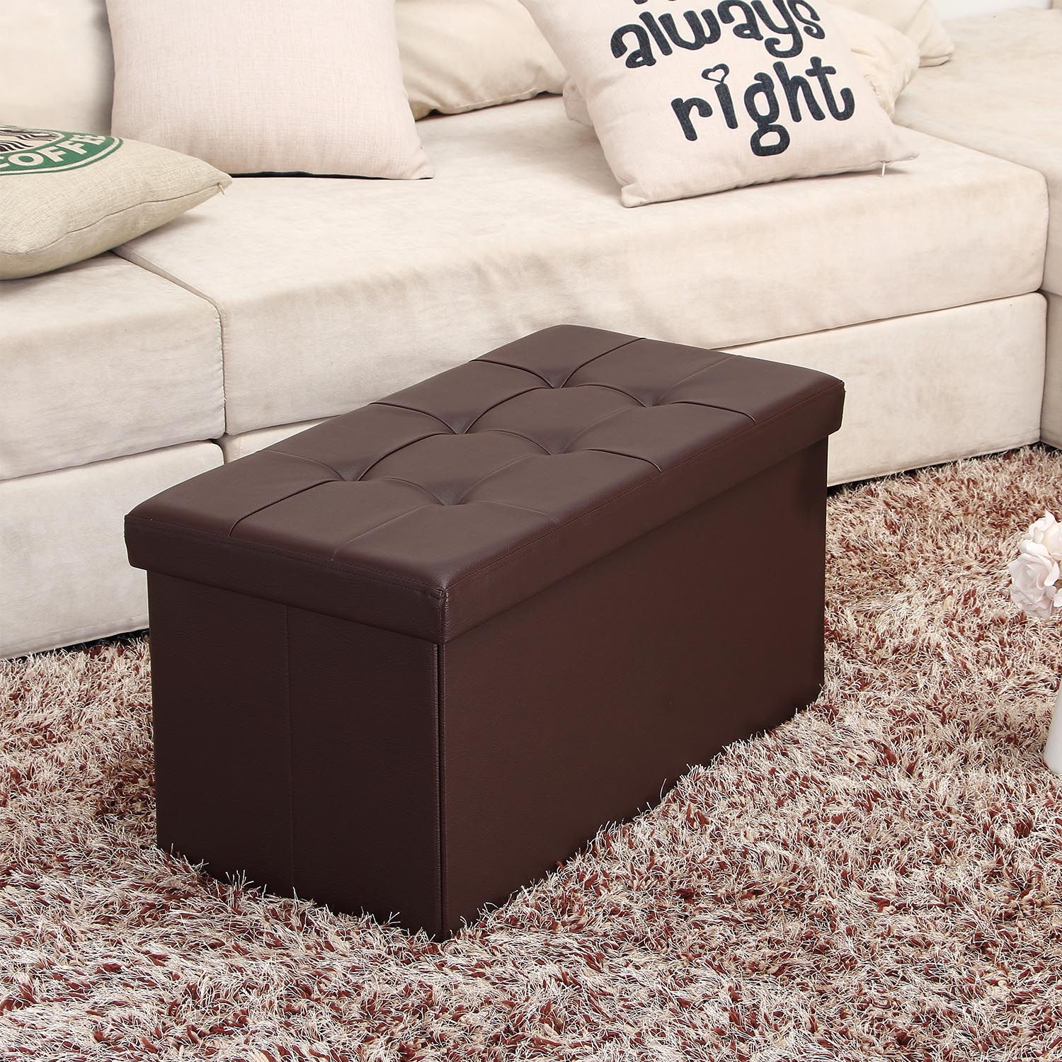 "Mllieroo 30"" L Faux Leather Folding Storage Ottoman Bench, Storage Chest/Footrest/Coffee Table,Brown"