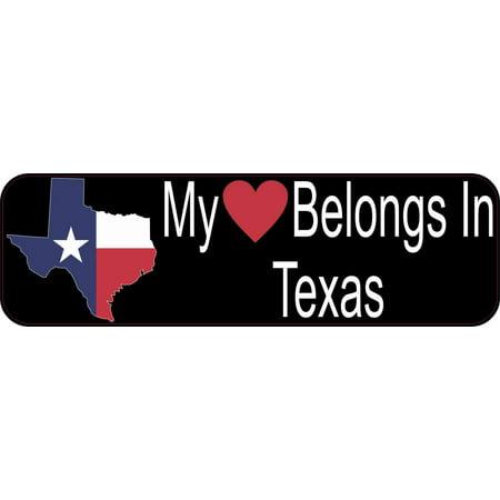 10in x 3in My Heart Belongs In Texas Bumper Sticker Vinyl Window State