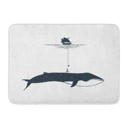 Nautical Bath Rugs (GODPOK Cruise Black Adventure Nautical Badge Yacht Whale Illustrations White Authentic Double Rug Doormat Bath Mat 23.6x15.7 inch)