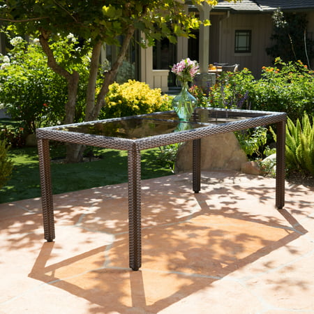 Rectangular Wicker Table - Union Outdoor Wicker Rectangular Dining Table with Tempered Glass Top, Grey