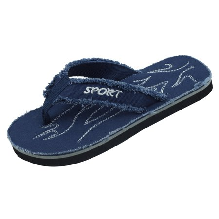 Starbay Kid's Boy's Canvas upper EVA Outsole Casual Thong Flip Flop Flat Comty Beach Sandals Navy Size 4 Kids Flip Flop