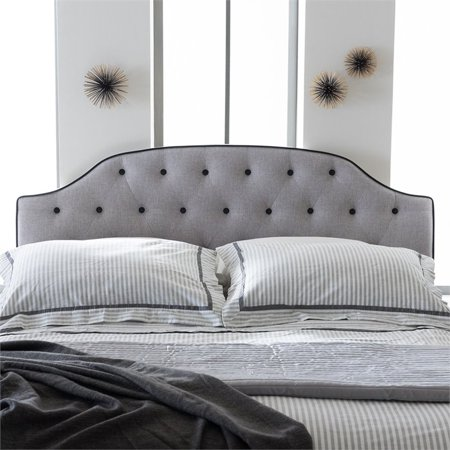 Baxton Studio Windsor Modern and Contemporary Greyish Beige Fabric Upholstered Scalloped Buttoned Queen Size Headboard - image 4 de 6