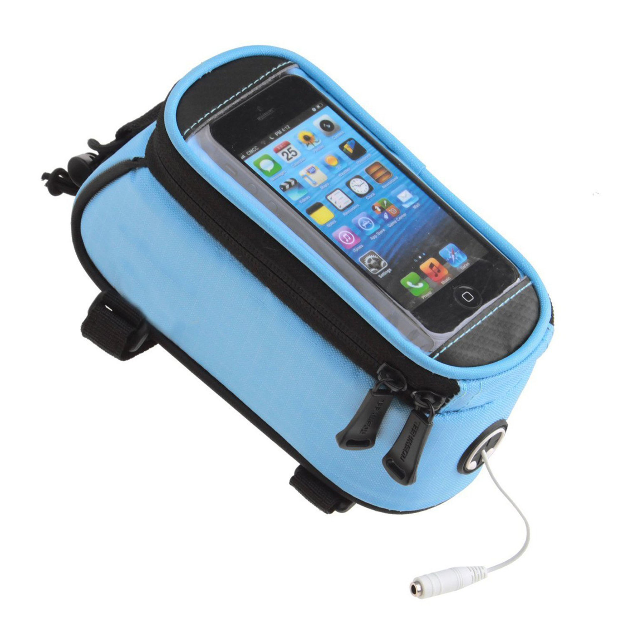 "SehrGo Bike Bicycle Handlebar Frame Pannier Front Top Tube Bag Pack Rack X Large Waterproof for iPhone Samsung Mobile Phone (Skyblue, For 4.8"" Mobile Phone)"