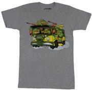Teenage Mutant Ninja Turtles Mens T-Shirt - Cartoon Boys Riding Van Attack