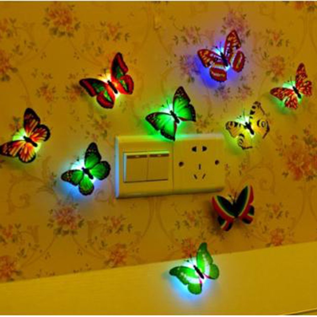 Creative Colorful LED Butterfly Night Light Wall Decoration