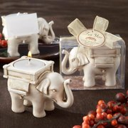 Kate Aspen Lucky Elephant Antique Ivory - Finish Tea Light Holder - Hostess Gift, Guest Gift, Party Souvenir, Party Favor or Decorations for Weddings, Bridal Showers, Baby Showers & More, Set of 6