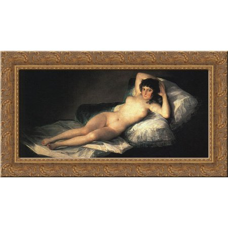 Nude Maja 24x16 Gold Ornate Wood Framed Canvas Art by Goya, Francisco (Nude Canvas Art)
