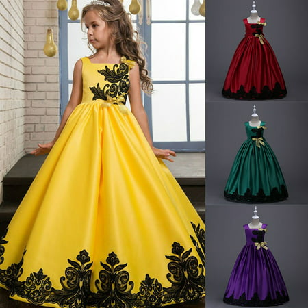 BOBORA 4-15Y Girls Sleeveless Bowknowt Flower Embroidered Formal Ball Gown Performance Full Length Dresses