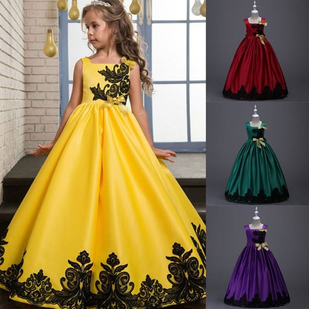 BOBORA 4-15Y Girls Sleeveless Bowknowt Flower Embroidered Formal Ball Gown Performance Full Length Dresses](Pale Yellow Flower Girl Dresses)