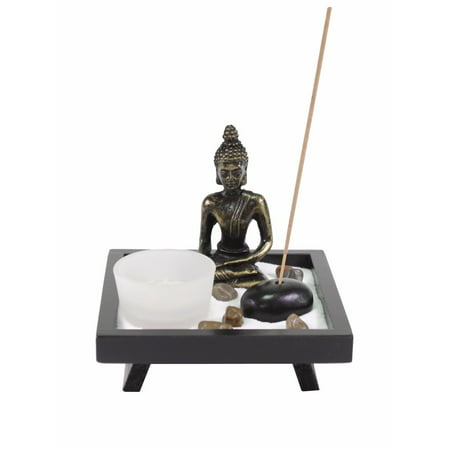 Tabletop Buddha Zen Garden Rock Candle Holder Incense Burner Gift & Home Decor