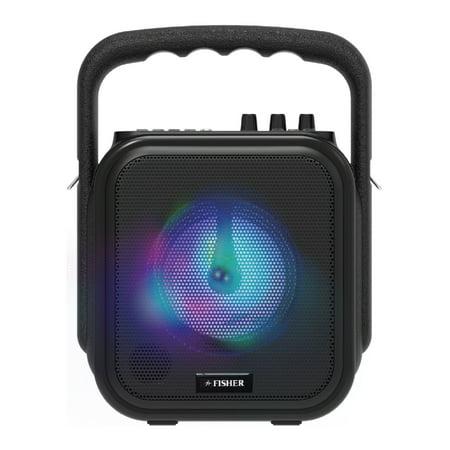 Fisher Mini Wireless Stereo Speaker System, Portable, Bluetooth, Mic Input - Black ()