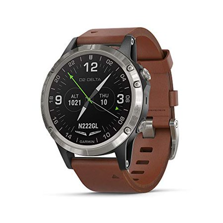 Garmin D2 Delta, GPS Pilot Watch, Includes Smartwatch Features, Heart Rate and Music, Titanium with Brown Leather Band Fighter Pilot Watch