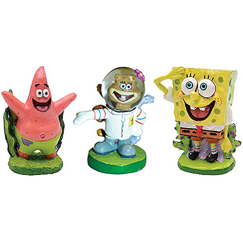 Penn Plax SpongeBob Mini Figures Assorted Aquarium Decoration, Character May Vary