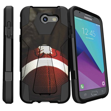 Case for Samsung Galaxy J3 Emerge 2017 Release[ Shock Fusion ] High Impact Shock Resistant Shell Case + Kickstand - Football Lace Close Up