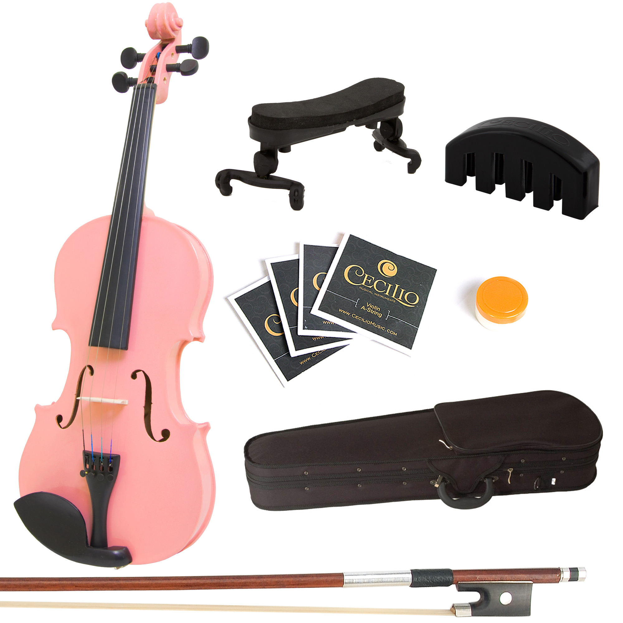 Mendini by Cecilio Full Size 4 4 MV-Pink Solid Wood Violin w  Shoulder Rest, Extra... by Cecilio Musical Instruments