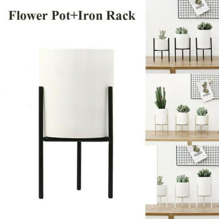 Green Cactus Succulents Plant Flower Pot Ceramic Round Pots Garden Home Decor ()