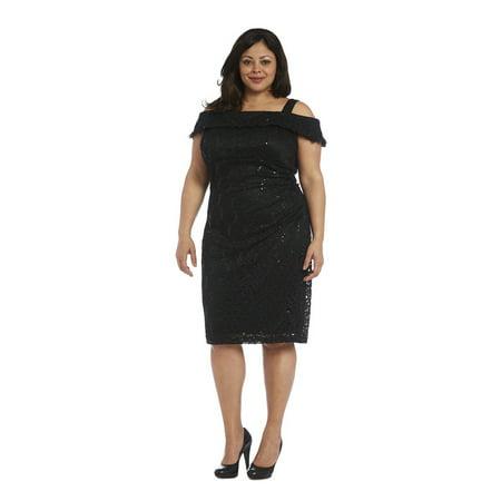 r & m richards black lace plus-size dress