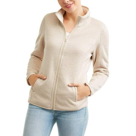 7d4aabf1afd Swiss Tech Women s Sweater Fleece with Cozy Sherpa Lining - Walmart.com
