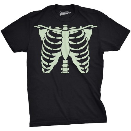 - Mens Glowing Skeleton Rib Cage Cool Bones T shirt