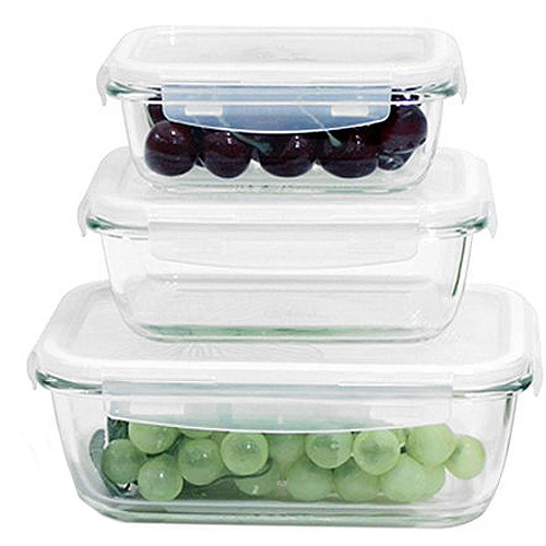 Lock U0026 Lock 6 Piece Borosilicate Glass Food Storage Set With Locking Lids