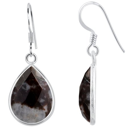 17.1 Carat Pear Cut Orange Outback Jasper 925 Sterling Silver Dangle Earrings