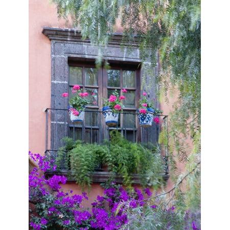 Window with Geraniums, San Miguel De Allende, Mexico Print Wall Art By Alice