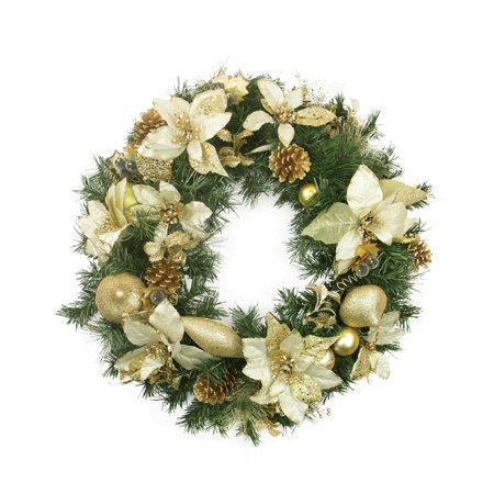 Gold Christmas Wreath.24 Pre Decorated Gold Poinsettia Pine Cone And Pear Artificial Christmas Wreath Unlit