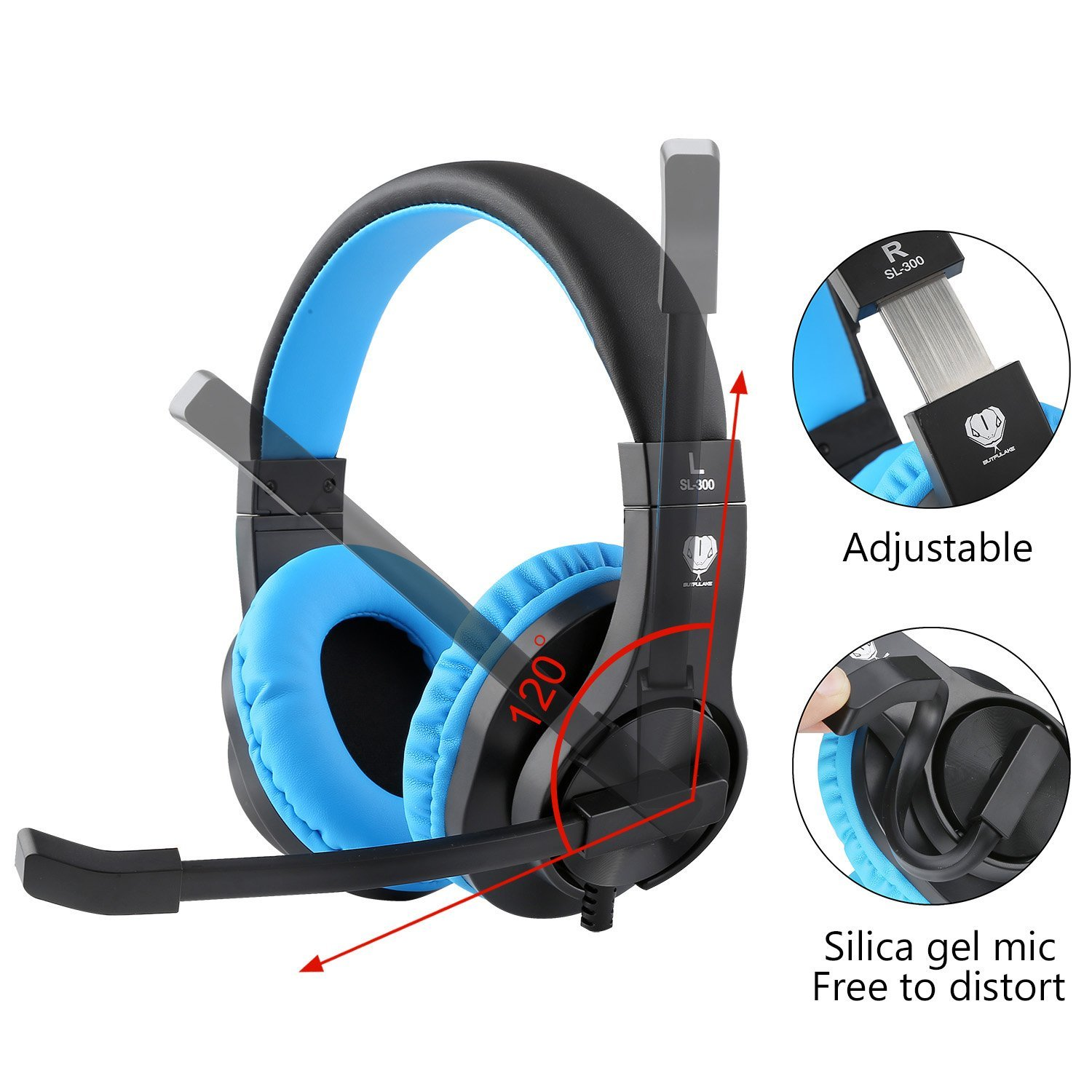BlueFire 3.5mm PS4 Gaming Headset Bass Stereo Over-Ear Gaming Headphone with ...