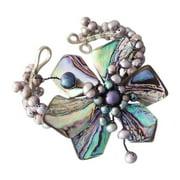 Aeravida Handmade Silvertone Abalone and Black Pearl Floral Cuff (Thailand)