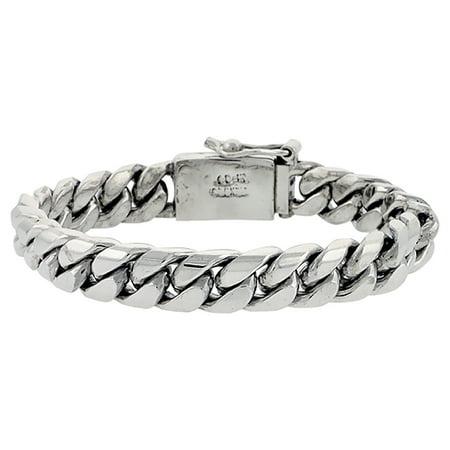 Gents Sterling Silver Cuban Link Bracelet Handmade 1 2 Inch Wide  Sizes 8  8 5   9 Inch