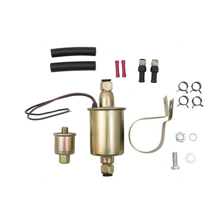 BROCK Universal 6 Volt Electric Fuel Pump w/ Installation Kit Inline Type 5-8 PSI 5/16 Inlet & Outlet for Universal Carbureted Models E8011 SP1124 Pump Installation Kit