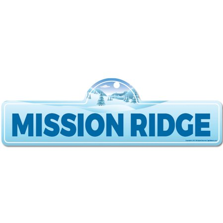 Mission Lodge Arts - Mission Ridge Street Sign   Indoor/Outdoor   Skiing, Skier, Snowboarder, Décor for Ski Lodge, Cabin, Mountian House   SignMission personalized gift