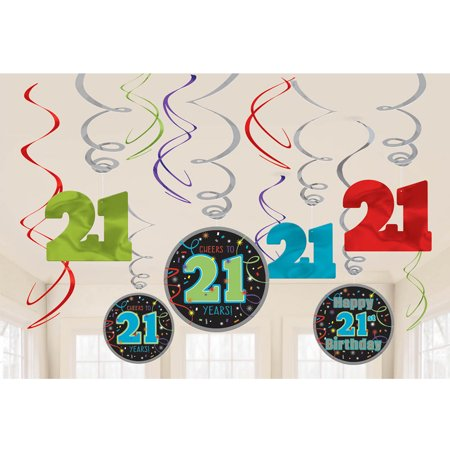 Brilliant 21st Birthday Swirl Decorations (12 Pieces) - Party Supplies (21st Halloween Birthday Party)