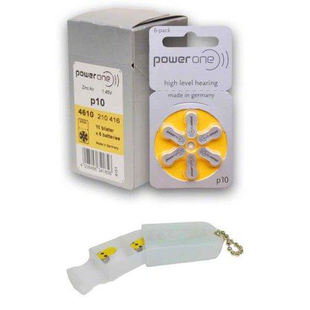 PowerOne Hearing Aid Batteries Size 10, PR70 (60 Batteries) + 2 Cell Battery Keychain Kit