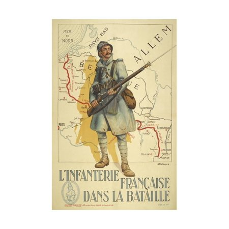 Poster Depicting a French Infantry Soldier, Holding a Rifle. a Map Of Europe Behind Him Print Wall