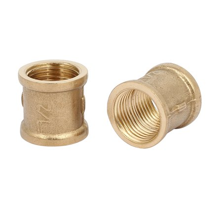 Unique Bargains1/2BSP Female Thread Brass Straight Tube Pipe Connecting Fittings Couplers 8pcs - image 1 of 3