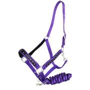 Nylon HALTER Lead Rope Tack Noseband Purple Horse Tack Bling Rodeo 60699
