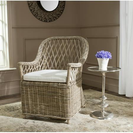 Indoor Rattan Side Chair (Safavieh Maluku Nautical Rattan Arm Chair with Cushion)