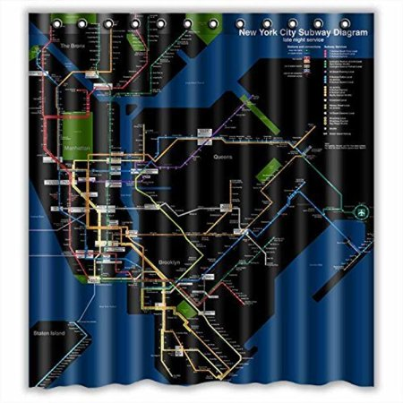 Custom New York City Subway Map Waterproof Bathroom Shower Curtain Polyester Fabric Size 66